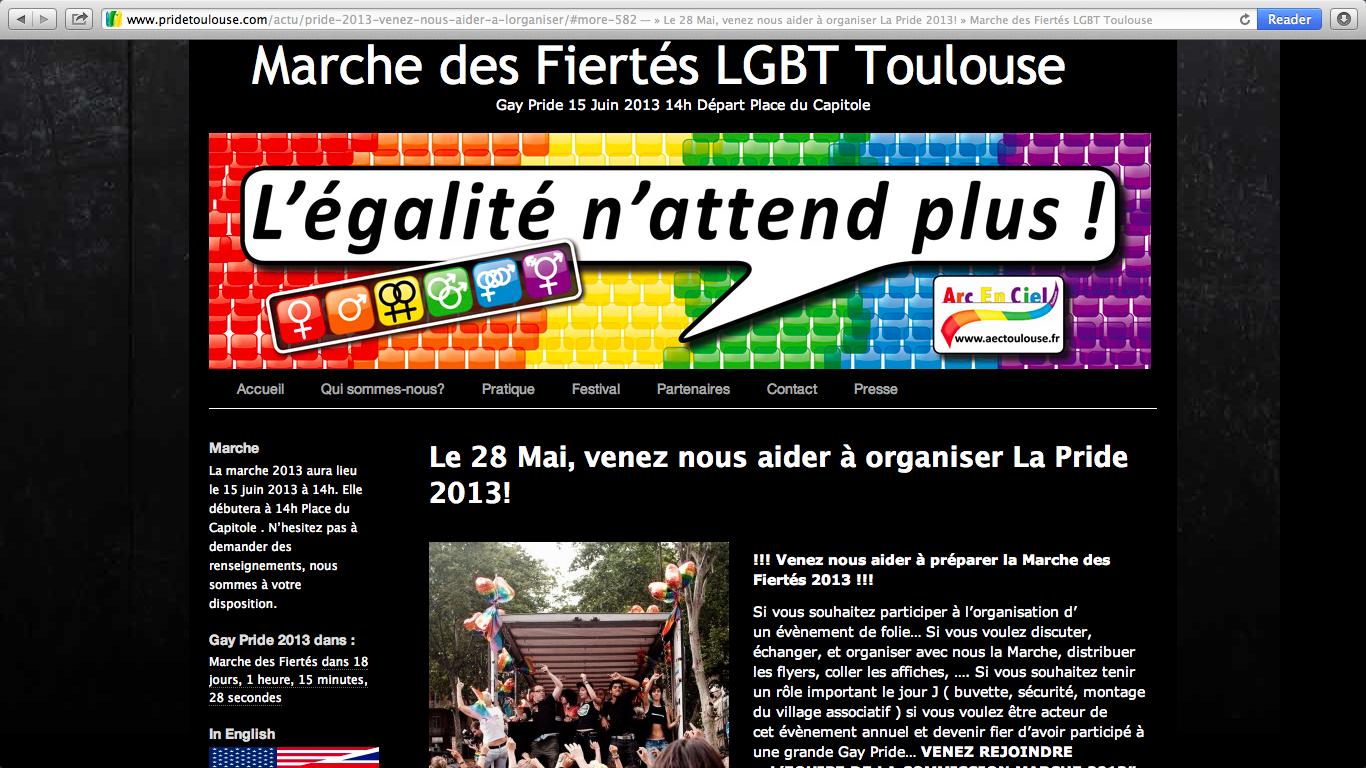 Capture d'écran du site internet de la marche de fiertés 2013